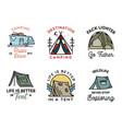 camping adventure badges logos set vintage travel vector image vector image