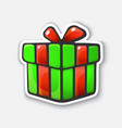 cartoon sticker with present box in comic style vector image vector image