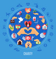 charity icons round composition vector image vector image