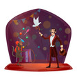 circus monkey juggling dove hat show vector image vector image