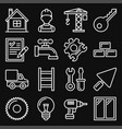 construction icons set on black background line vector image vector image