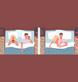 couple people sleeping poses in bed vector image