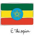 Ethiopia flag doodle vector image vector image
