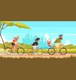 family bicycle ride cartoon vector image vector image