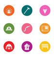 fire house icons set flat style vector image vector image