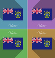 Flags Pitcairn Islands Set of colors flat design vector image