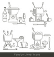 Fondue line icons isolated vector image vector image