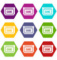 game cartridge icon set color hexahedron vector image vector image