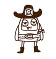 Hand Drawn Alien in Sheriffs Costume vector image