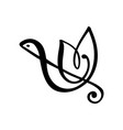 hand drawn love music logo treble clef and vector image