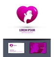 Heart and girl Logo icon emblem template business vector image