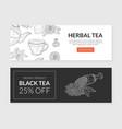 herbal tea landing pages templates set organic vector image vector image