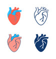 human heart icon set in flat and line style vector image vector image