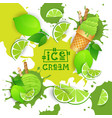 ice cream with lime taste dessert colorful poster vector image vector image