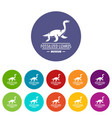 jurassic museum icons set color vector image vector image