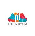 letter n cloud logo design vector image vector image