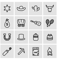 line wild west icon set vector image vector image