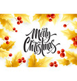 merry christmas hand drawn lettering in realistic vector image vector image