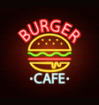 neon sign burger cafe vector image vector image