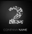 number two logo silver dots alphabet logotype vector image