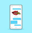 online conversation mobile chat app sending vector image