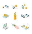 online payments signs 3d icons set isometric view vector image