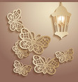 paper graphics of lace butterflies vector image vector image