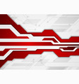 red and grey abstract technology background vector image vector image