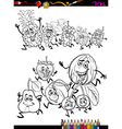 running fruits set cartoon coloring page vector image vector image