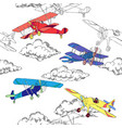 seaml colors airplanes-01 vector image