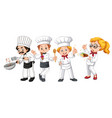 set of different cook character vector image vector image