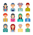 set of pixel people avatar faces vector image