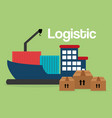 shipboat with boxes logistic service vector image