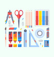 stationery tools for study and work set vector image