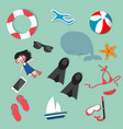 summer beach holiday set vector image
