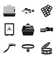transporting animal icons set simple style vector image vector image