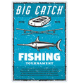 vintage poster or marlin and fisher rod vector image vector image