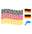 waving germany flag mosaic of dolphin items vector image