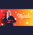 young girl celebrating international womens day 8 vector image