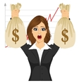 businesswoman holding two big dollar money bags vector image