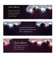 set of christmas horizontal banners with fir-tree vector image