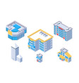3d isometric set city building with hotel and shop vector image vector image