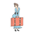 a modest girl holds a suitcase in front of her vector image