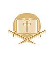an open bible cross jesus christ and sword vector image