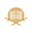an open bible the cross of jesus christ and sword vector image vector image