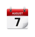 August 7 flat daily calendar icon Date vector image vector image