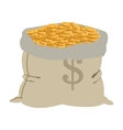 bag of golden coins icon vector image