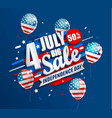 big sale banner with balloons for independence day vector image