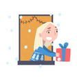 blonde girl looking out window kid giving vector image vector image