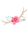 boho styled beautiful pink rose with deer antlers vector image